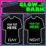 PERSONALISED GLOW IN THE DARK TSHIRT BIRTHDAY GIFT HOLIDAY OWN DESIGN
